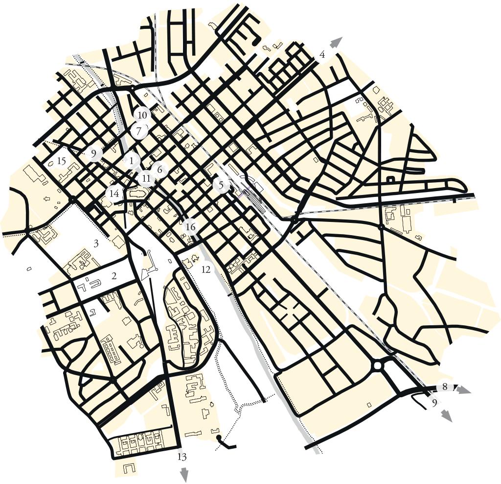 Karta över besöksmål i Uppsala kopplade till Carl von Linné.